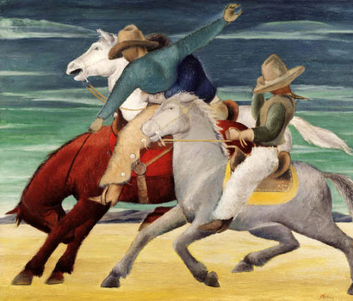 """Rodeo Pick-Up Man"" by Frank Mechau donated to Denver Art Museum by Anne Evans(credit: Denver Public Library)"