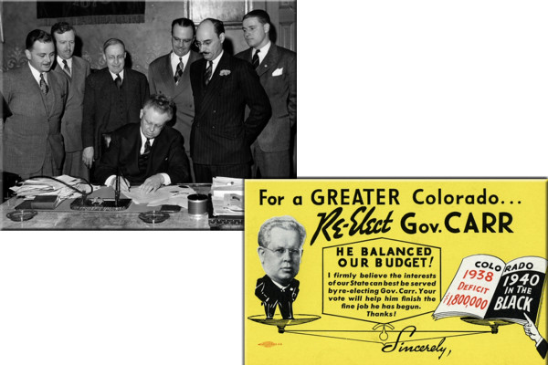Governor Carr signing documents at the Capitol. Re-election for governor promotional postcard.(credit: History Colorado)