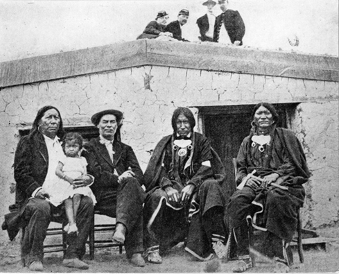 Little Raven, Grass Woman (girl), William Bent, Little Raven's sons-Little Bear and Shield circa 1869credit: History Colorado