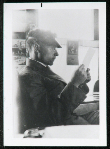 Clyde L. Stanley in his print shop in Erie, Colorado. Courtesy History Colorado, R.138.2008.261