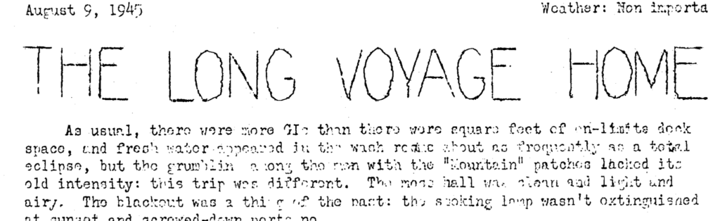 long voyage home aug 9