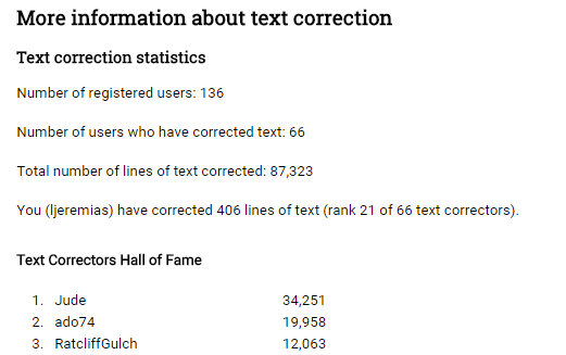 Text correction stats