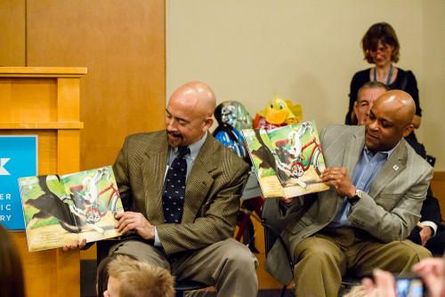 Lt. Gov. Garcia and Denver Mayor Hancock read the 2013 One Book 4 Colorado title.