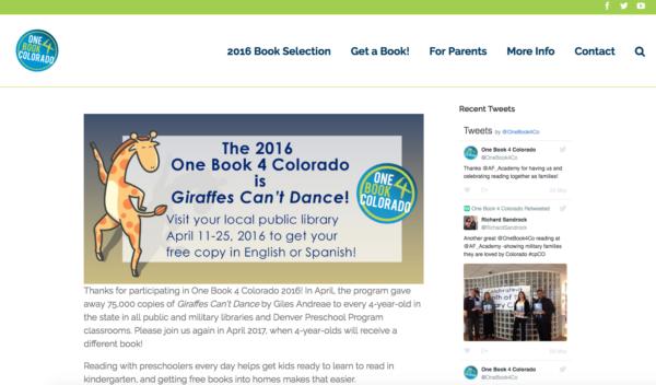 one book 4 colorado website homepage
