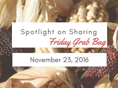 Spotlight on Sharing: Friday Grab Bag, November 23, 2106