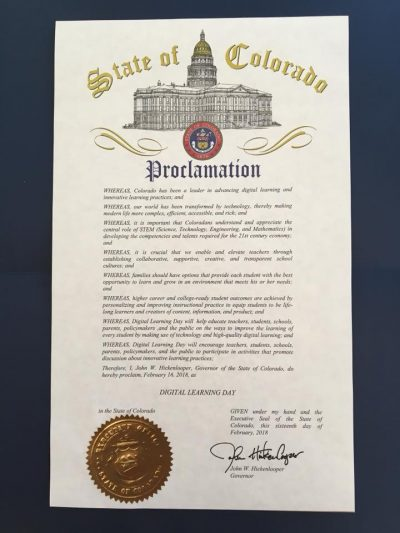 Governor John W. Hickenlooper Proclaims Digital Learning Day 2018