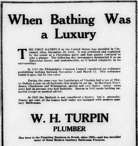 When bathing was a luxury... W.H. Turpin Plumber, Advert.
