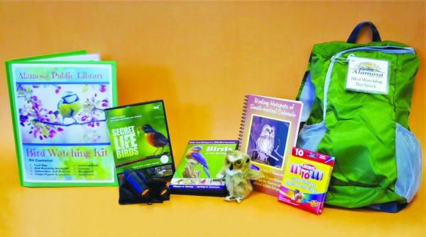 Alamosa Public LIbrary, Bird Watching Backpack Contents