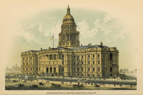 A color drawing of the proposed State Capitol from 1888