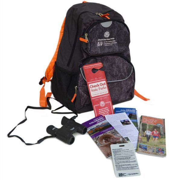 Check Out State Parks backpack, pass, binoculars, brochures