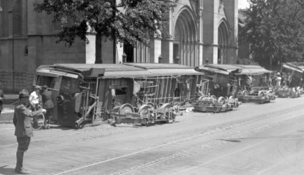 Overturned streetcars at Colfax and Logan, Denver, August 1920