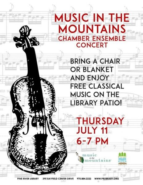 Music in the Mountains on the Pine River Library patio on July 11