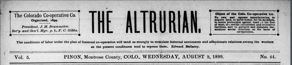 The Altrurian, Montrose County's Cooperative Newspaper, Joins the CHNC!
