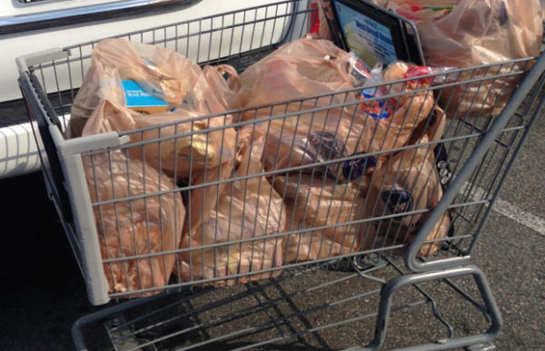 shopping cart full of groceries in plastic bags