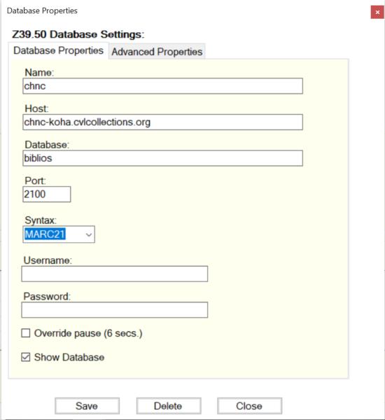 z39.50 database settings